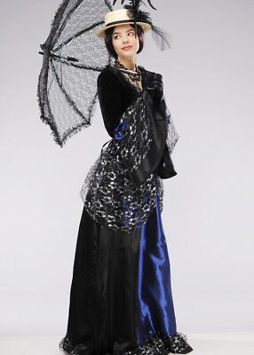 Womens Blue and Black Victorian Lady Costume INCLUDES DRESS ONLY