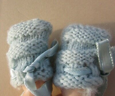 """Dy-dee Doll Baby Knit Booties Socks Blue Ribbons Dydee Wee Small Dolls 9"""" N/M"""