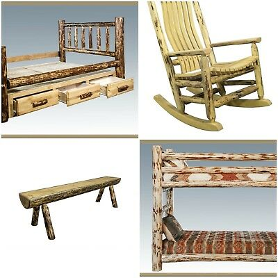 SAMPLE WOOD of the Amish Made Log Furniture Finish Options Montana Cabin Style