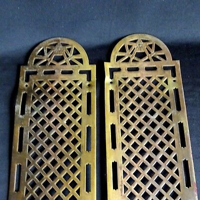 2 Vintage Push Plates Brass Touch Door Hardware Backplate Art Deco Retro French.