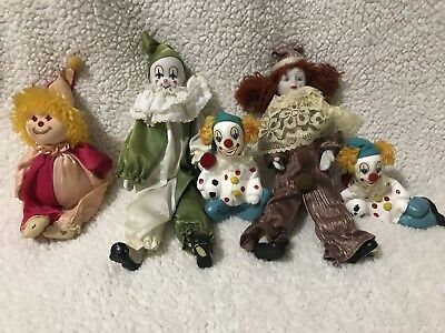 Vintage 80s Lot of 5 Hand Painted Ceramic Porcelain Clowns