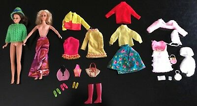 Lot of vintage Barbie clothes dolls accessories shoes Live Action Twist N Turn