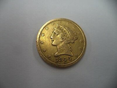 1844-D LIBERTY HEAD $5 GOLD  VERY FINE  RARE! LOW MINTAGE! Guaranteed!