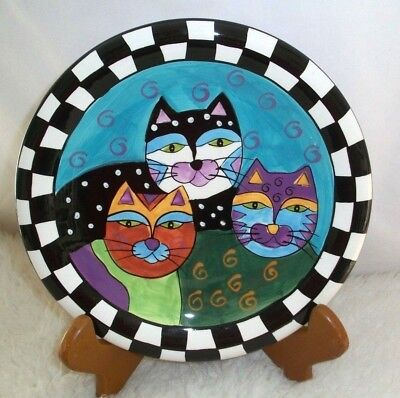 Milson And Louis Plate Cats Ceramic Hand Painted Art Lover Crazy Cat Lady Gift
