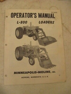 Minneapolis Moline Operators Manual L-800 Loaders 12 Pages