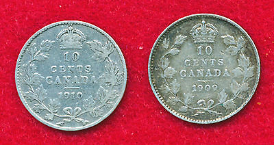 Canada 1909 & 1910 10 CENTS (2 Coins)  .1382 ounces of SILVER!