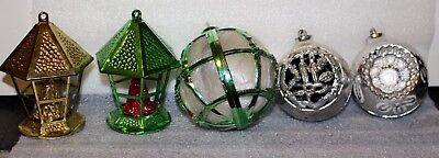 Lot of 5 Vintage Plastic Christmas Ornaments, Some Color Loss