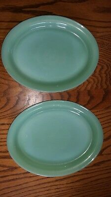 Lot of 2 Vintage Fire King Oven Glass Jadeite Green Oval Plates