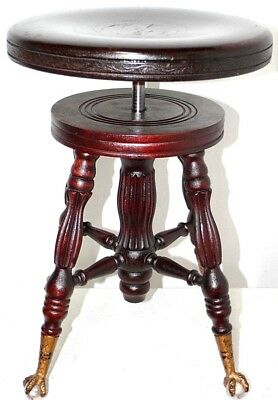 "Antique ""a. Merriam Co."" Mahogany Swivel Piano Stool W/ Glass Ball & Claw Feet."