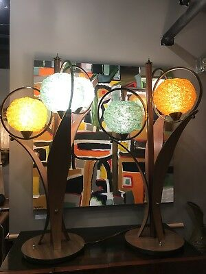 Monumental Pair Of Danish Style Teak & Green Orange Clear Lucite Spaghetti Lamps