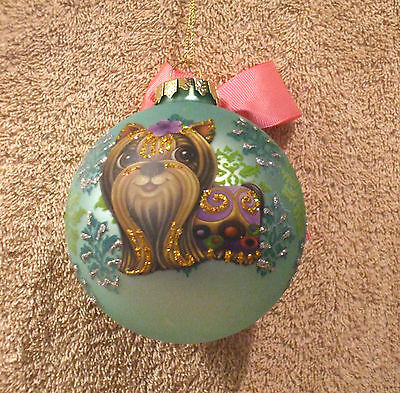 Large Blue Glass Ball w/Shih Tzu Christmas Ornament - New