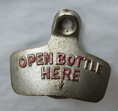 "Vintage Starr X Wall Mount Bottle Opener Brown Co ""OPEN BOTTLE HERE"" USA"