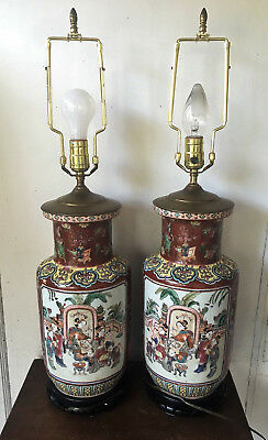 Pair of 2 Signed Antique Chinese Famille Jaune Porcelain Reflecting Vases