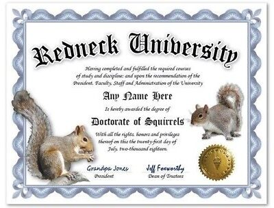 Squirrel Redneck University Personalized Diploma w/ Gold Seal Novelty Funny Gag