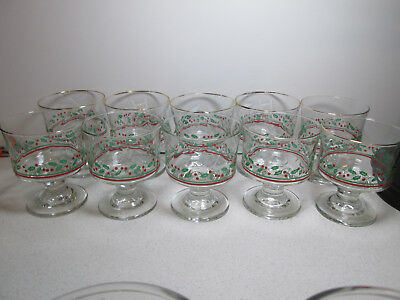 10 Vintage Arby's Libbey Christmas Holiday Holly Berry Dessert Sherbet Glasses