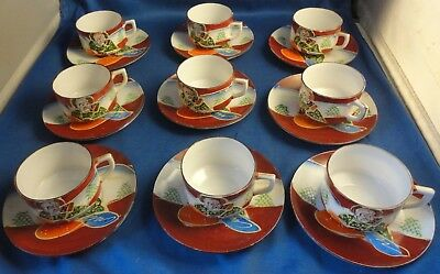 Vintage Satsuma 20 Pieces Cup and Saucers Demitasse Childs Polychrome & Gilded