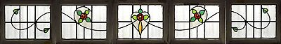 set of 5 Antique Stained Glass Windows Six Colors Macintosh Roses (3076)