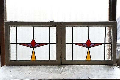 Pair of Antique Stained Glass Windows Four (4) Colors Art Deco (3077)