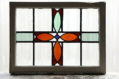 Antique Stained Glass Window Four Color Craftsman Style (3078)