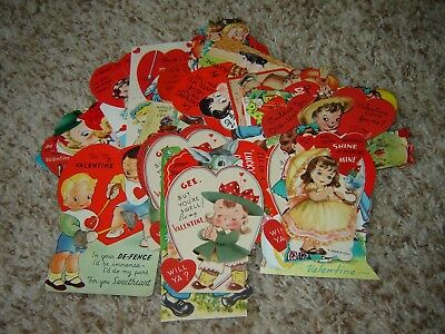 LOT M VINTAGE VALENTINE'S DAY CARDS large lot of 45 flat one sided 1950s-60s