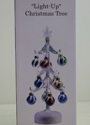 """LS Arts Hand Crafted Glass Light Up 10"""" Christmas Tree w/ 12 Glass Ornaments"""