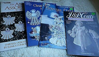 5 Assorted Crochet Leaflets CHRISTMAS-DOLLS-ANGELS  VGC