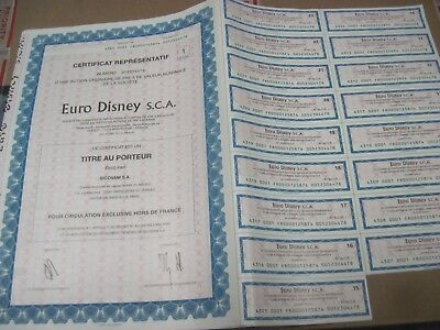 Euro Disney OLD CANCELED BOND CERTIFICATE with coupons