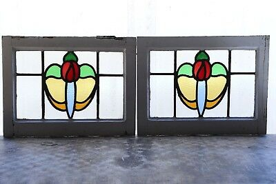 Pair of Antique Stained Glass Windows Six Color Macintosh Roses (3080)