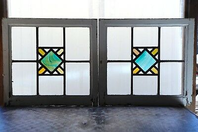 Pair of Antique Stained Glass Windows Craftsman Style Variegated Diamond (3081)