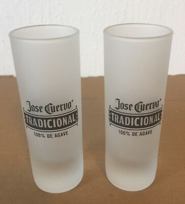 2 Brand New Jose Cuervo Tequila Frosted Shot Glass Shooters (4 Inches Tall)