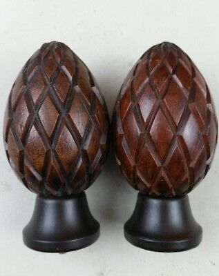 Set of 2 Wooden Pineapple Bed Finials curtain rod finials wood vintage.