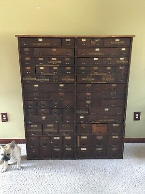"""Antique Watch Makers 76 Drawer Cabinet - 61 3/4""""H x 50 1/2""""W x 13 1/4""""D"""