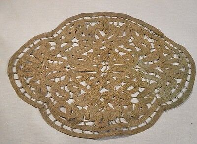 Antique Metal Bullion Lace Crochet Decorative Table Doily Rare!!!