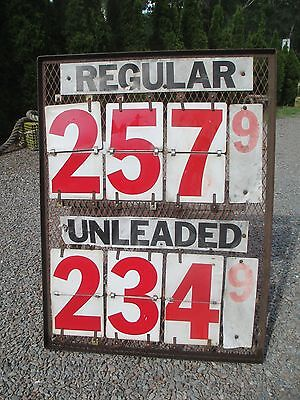 "Vintage ""May Advertising"" Gas Price Sign - Metal Flip Numbers"