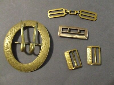 Lot Of 5 Brass Antique Vintage Belt Buckles (F)