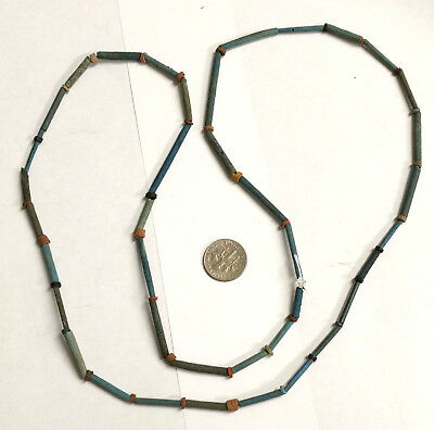 RESTRUNG 2500 Year old Ancient Egyptian Faience Mummy Bead Necklace (#G5126)