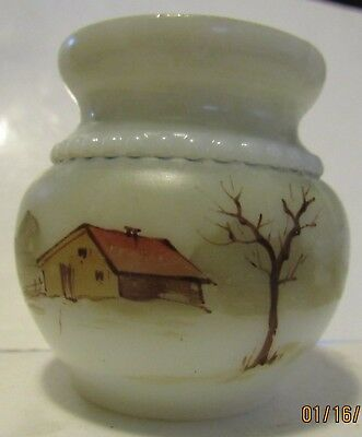 Antique milk glass hand painted toothpick or match holder