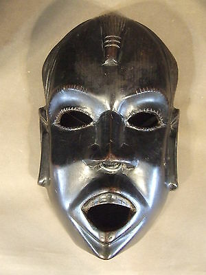 Antique/vintage Hand Carved Mahogany  Tribal African Man Mask W/ Nose Ring