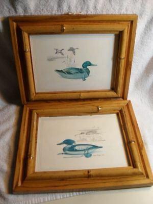 Two 1978 James P. Fisher Signed Mallard & Wood Duck Prints With Bamboo Frames