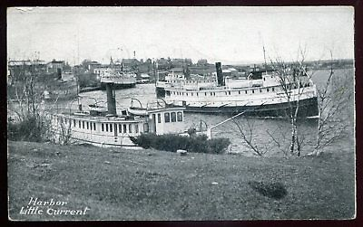 *428 - LITTLE CURRENT Ontario 1910 Manitoulin Island. STEAMERS in Harbor