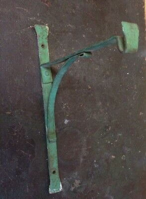 Vintage Antique Arts & Crafts Hammered Wrought Iron Plant Hanger Old Green Paint