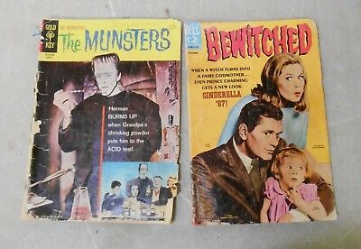 VTG THE MUNSTERS #8 1966 GOLD KEY & Bewitched #11 Dell 1967 TV SERIES Comics