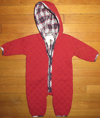 max + ella baby boy girl 3-6 months burgundy quilted organic cotton bunting~NWT!