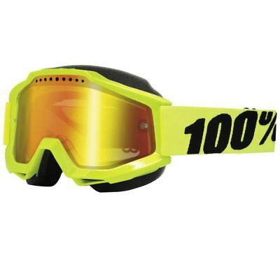 100% Accuri Snow Goggles - Fluorescent Yellow with Red Lens