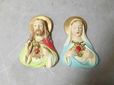 Vintage Jesus and Mary 'bleeding hearts' Chalkware Wall Hanging