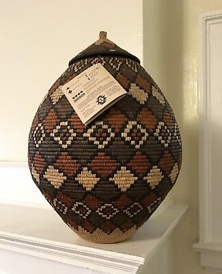 """Exceptionally Fine African Zulu Basket Unique, Handmade 20"""" Tall, One Of A Kind!"""