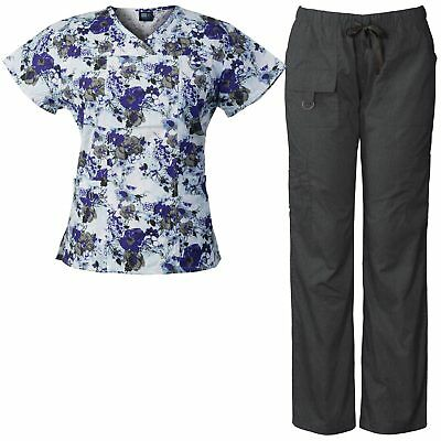 Medgear Women's Scrubs Set Multi-Pocket Top & Pants, Medical Uniform MGWH