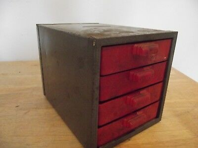 Industrial Vintage Metal 4 Drawer Tool Hardware Cabinet Machinist Box