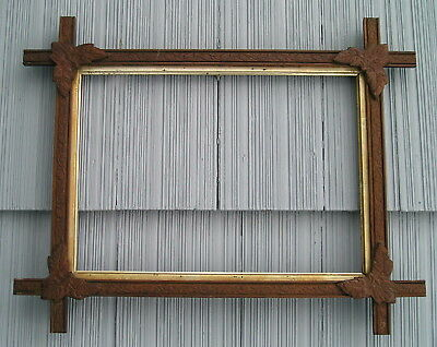 Antique Victorian Black Forest Adirondack Acorns~Leaf Corner Picture Frame 10~14