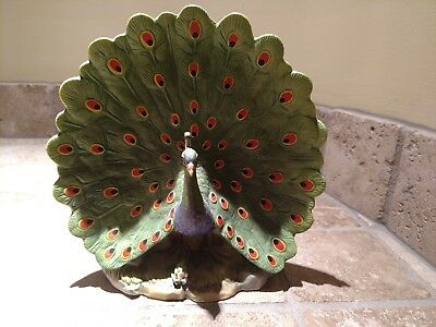 """Porcelain """"Peacock"""" on wood Base by Andrea Made in Japan # 6475 PreOwned  ExCond"""